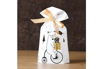 Jouets éducatifs Generic 50pcs sac à cordon de noël sacs de bonbons traiter les sacs avec des sacs à biscuits à cordon toy5944