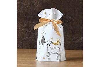 Jouets éducatifs Generic 50pcs sac à cordon de noël sacs de bonbons traiter les sacs avec des sacs à biscuits à cordon toy5942