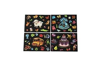 Jouets éducatifs Generic 4pcs 20x14cm papier de peinture magique scratch art avec bâton de dessin enfants jouet vinwo4706