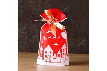 Jouets éducatifs Generic 50pcs sac à cordon de noël sacs de bonbons traiter les sacs avec des sacs à biscuits à cordon toy5940