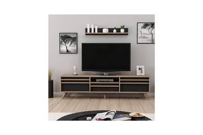 Meuble Tv Home Mania Homemania Meuble Tv Hira Moderne Avec Portes Etageres Pour Salon Noyer Noir En Bois 180 X 35 X 48 Cm Darty
