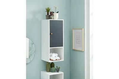 Meuble mural pour salle de bain coloris blanc et gris - 30 x 29.5 x 90 cm
