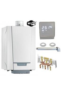 Chauffage à pétrole / gaz De Dietrich Chaudière gaz condensation naneo pmcx de dietrich 24 kw complète (ventouse + douilles + dosseret) avec thermostat connecté