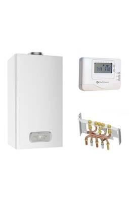 Chauffage à pétrole / gaz Chaffoteaux Chaudière gaz basnox inoa nox chaffoteaux 25 kw / cheminée complète (douilles + dosseret) avec thermostat filaire