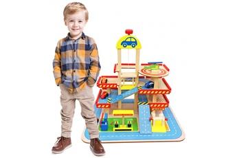 Circuits de voitures Dodo Toys Grand jouet en bois garage / parking 3 niveaux ascenseur & piste d'atterrissage, accessoires: 4 voitures & un hélicoptère