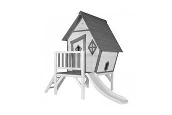 Cabane enfant Axi House Maisonnette cabin xl gris blanc toboggan blanc