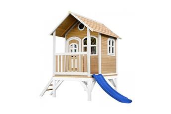 Cabane enfant Axi House Maisonnette tom brun blanc avec toboggan bleu
