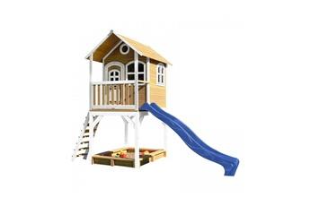 Cabane enfant Axi House Maisonnette sarah brun blanc avec toboggan bleu