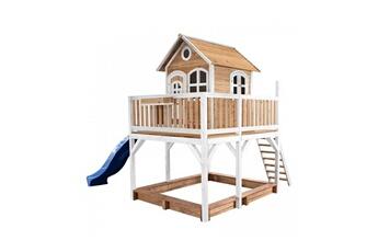 Cabane enfant Axi House Maisonnette liam brun blanc avec toboggan bleu