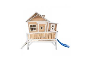 Cabane enfant Axi House Maisonnette emma brun blanc avec toboggan bleu