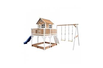 Cabane enfant Axi House Maisonnette liam avec 2 balancoires brun blanc avec toboggan bleu