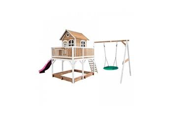 Cabane enfant Axi House Maisonnette liam avec balancoire nid rond summer brun blanc avec toboggan violet