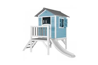 Cabane enfant Axi House Maisonnette lodge xl bleue toboggan blanc