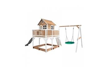 Cabane enfant Axi House Maisonnette liam avec balancoire nid rond summer brun blanc avec toboggan blanc