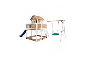 Cabane enfant Axi House Maisonnette liam avec balancoire nid rond summer brun blanc avec toboggan bleu