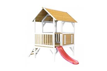 Cabane enfant Axi House Maisonnette akela brun blanc avec toboggan rouge