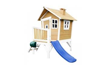 Cabane enfant Axi House Maisonnette robin brun blanc avec toboggan bleu