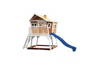 Cabane enfant Axi House Maisonnette max brun blanc avec toboggan bleu