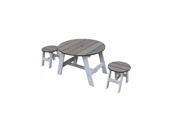 Accessoires pour aire de jeux Axi House 1 table et 2 tabourets picnic ronds blanc gris