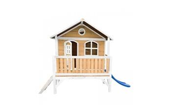 Cabane enfant Axi House Maisonnette stef brun blanc avec toboggan bleu