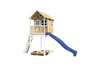 Cabane enfant Axi House Maisonnette romy brun blanc avec toboggan bleu
