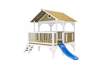 Cabane enfant Axi House Maisonnette meeko brun blanc avec toboggan bleu