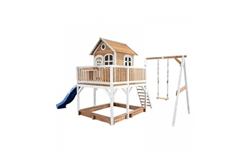 Cabane enfant Axi House Maisonnette liam avec 1 balancoire brun blanc avec toboggan bleu