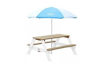 Accessoires pour aire de jeux Axi House Table picnic nick brun blanc avec parasol bleu blanc
