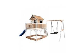 Cabane enfant Axi House Maisonnette liam avec balancoire nid ovale roxy brun blanc avec toboggan bleu