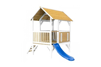 Cabane enfant Axi House Maisonnette akela brun blanc avec toboggan bleu