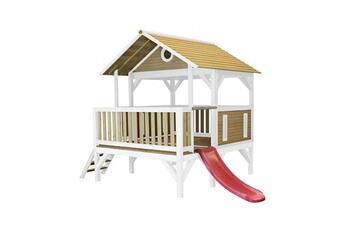 Cabane enfant Axi House Maisonnette meeko brun blanc avec toboggan rouge