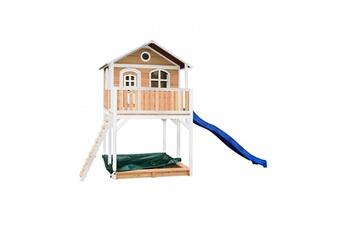 Cabane enfant Axi House Maisonnette andy brun blanc avec toboggan bleu