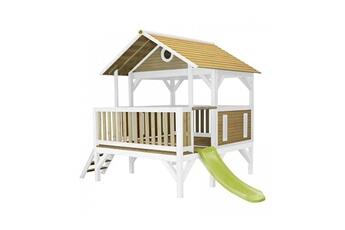 Cabane enfant Axi House Maisonnette meeko brun blanc avec toboggan vert citron