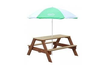 Accessoires pour aire de jeux Axi House Table picnic nick brun avec parasol vert blanc
