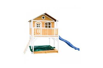 Cabane enfant Axi House Maisonnette marc brun blanc avec toboggan bleu