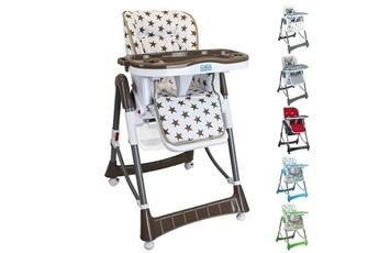 Chaise haute Monsieur Bébé Chaise haute bébé pliable réglable hauteur dossier tablette - ptit stars marron