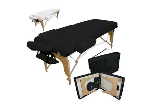 Table de massage 13 cm pliante 2 zones en bois avec panneau reiki + accesso