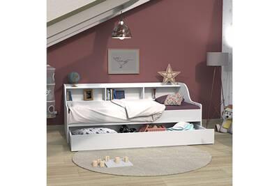 lit palma 90x190 etagere 1 tiroir lit blanc