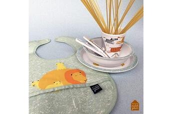 Vaisselle bébé Petit Jour Paris Coffret cadeau vaisselle avec bavoir assorti la savane