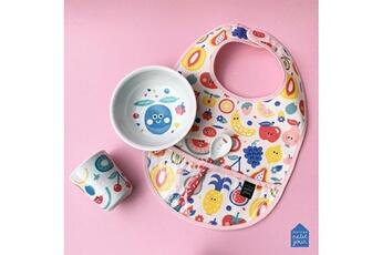 Vaisselle bébé Petit Jour Paris Vaisselle enfant, premiers repas avec bavoir et tutti frutti