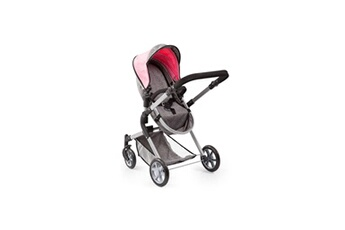 Accessoire poussette Bayer Design Bayer landau pour poupée neo star gris et rose avec sac a bandouliere et panier d'achat intégré réglable - convertible poussette