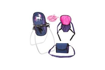 Jeux d'imitation Bayer Design Bayer set accessoires pour poupée licorne bleu et rose vif