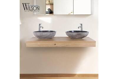 Meuble Salle De Bain Wilson Plan Suspendu Pour Vasque 120 Cm Chene Naturel Monica Darty