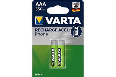 Pile rechargeable Varta Varta pack blister de 2 piles rechargeables varta type aaa 1,2v - 550 mah (hr03) noir