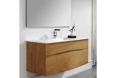 Meuble Salle De Bain O 39 Design Meuble Suspendu Avec Vasque Integree En Solid Surface 120 Cm Iroko Darty