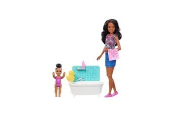 Poupées Alpexe Barbie babysitter heure du bain skipper brune - fxh06 - coffret poupée mannequin - 3 ans et +