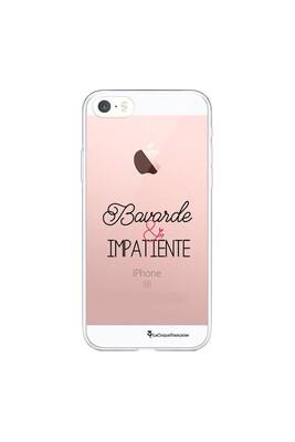Coque iphone 5/5s/se souple transparente bavarde et impatiente motif ecriture tendance la coque francaise