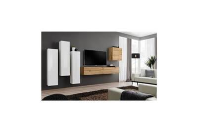 Salon D Interieur Price Factory Ensemble Meuble Salon Switch Iii Design Coloris Chene Wotan Et Blanc Brillant Darty