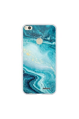 Coque huawei p8 lite 2017 souple transparente bleu nacré marbre motif ecriture tendance evetane