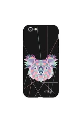 Coque iphone 6/6s silicone liquide douce noir koala outline evetane.
